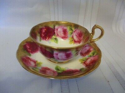 Royal Albert Cup&Saucer Crown China Old English Rose Heavy Brushed Gold Old Mark