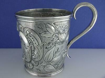 Early Coin Silver Cup / Mug - chased - CANFIELD BROS Baltimore MD ~ Xmas 1852