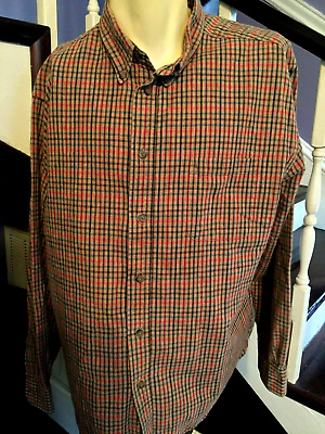 Preswick & Moore Button Down Shirt L Large Gray & Red Plaid Pocket Long Sleeve