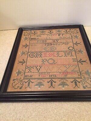 1794 Early American Sampler ABCs, Numbers, Professionally Framed 11x13 Nice