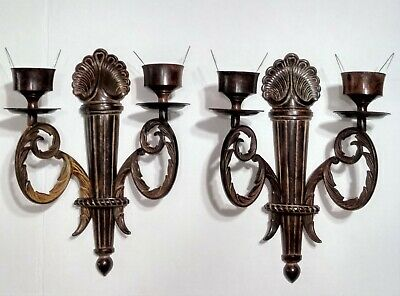 """Pair Vintage Ornate French Style 11 1/2"""" Brass Wall Candle Holder Sconces"""