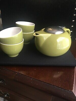 NWOT Teavana  green porcelain teapot W/Diffuser and 4 tea cups Plus Tea