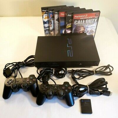 Sony PlayStation 2 PS2 Black Fat Console Bundle! 2 Controllers 7 Games & Tested