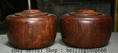 "6"" Rare Old Chinese Huanghuali Wood Carved Dynasty Pot Jar Crock Container Pair"