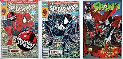 SPIDER-MAN 1 & 13 (1990) - SPAWN 8 (1992) - Todd McFarlane covers, -NM