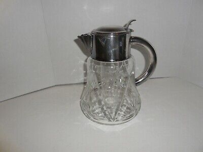 Crystal & Silver Handled  Carafe Decanter Pitcher with Ice Tube