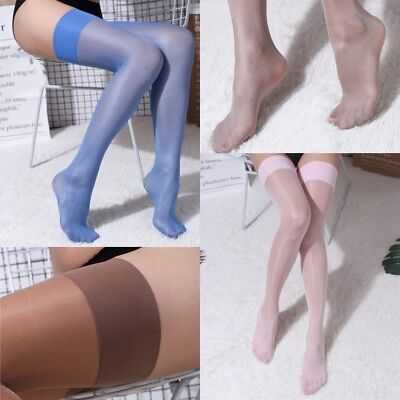 Women Sexy 15D Oil Shiny Glossy High Stockings Wide Border Long Thin Thigh-Highs