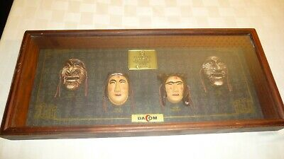 Vintage The Mask Play Of Hahoe Byeolsin Exorcism Shadow Box 4 Masks Framed