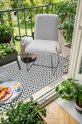 Outdoor Rug and Mat | Kimberley Black and White | 90x179 CM | Free Shipping