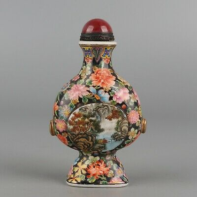Chinese Exquisite Handmade flowers landscape people Glass snuff bottle