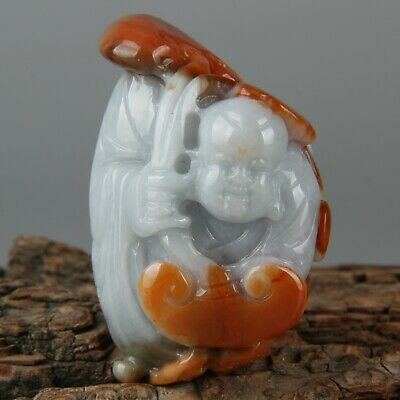 Chinese Exquisite Hand-carved people Carving jadeite jade Pendant