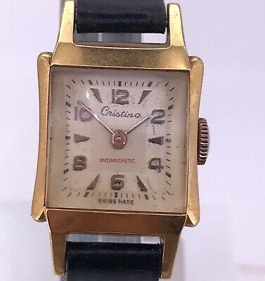 NOS Cristina Vintage Hand Manual Art Deco Watch Doesn'T Works Watch 18,5 mm 3WC