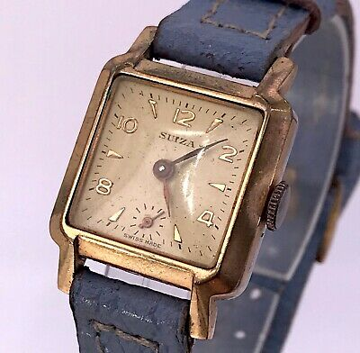 NOS Suiza 1400 Vintage Art Deco Manual Winding Watch Doesn'T Works 22 mm 3WC