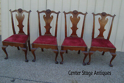 59263 Set of 4 Antique Mahogany Chippendale Chairs Chair s