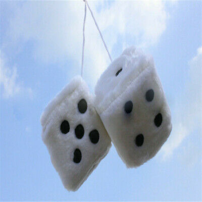 Novelty Fuzzy Fluffy Dice Car Mirror Hanging Accessory Gift Home Decor White