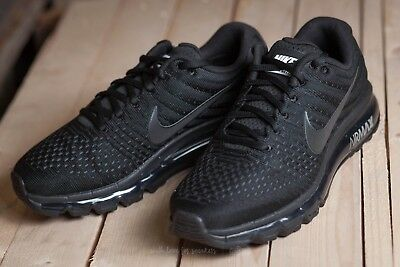 Nike Air Max 2017 Mens Triple Black Running Shoes 849559-004 -size 9