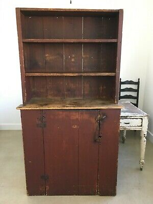 Aafa Antique Folk Art Wood Stepback Cabinet Cupboard Original Oxblood Red Paint