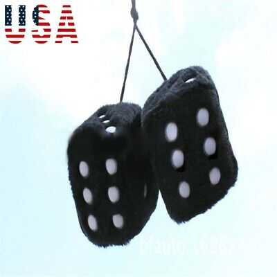 """Premium Vintage Style Car Red Hanging Mirror 3/"""" Inch Fuzzy Dice Pair hot rods"""