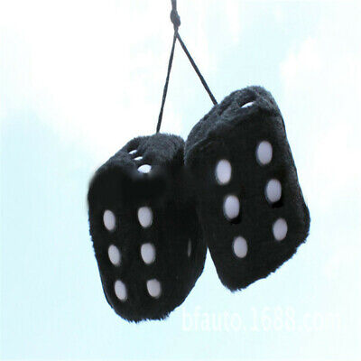 Novelty Fuzzy Fluffy Dice Car Mirror Hanging Accessory Gift Home Decor Black