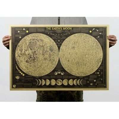 Vintage Retro Paper Earth's Moon World Map Poster Wall Chart Dining Hall Decora