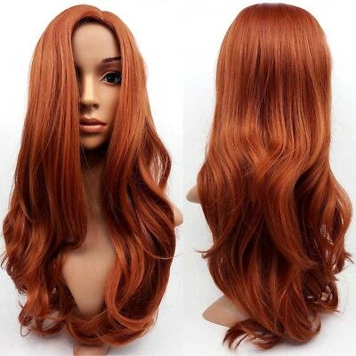 Women Full Auburn Ginger Mix Long Wavy Ladies Wig Synthetic Fancy Wig Hair curls