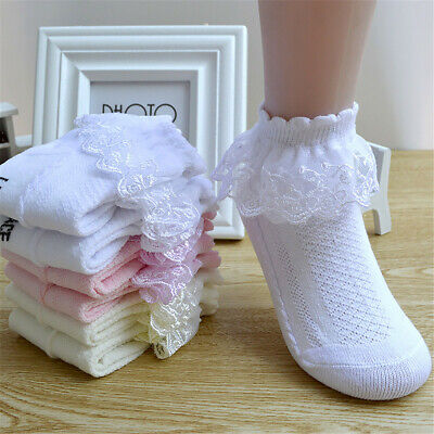 Toddler Infant Breathable Cotton Ankle Sock Princess Mesh Socks Lace Ruffle