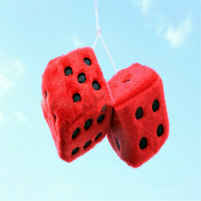 Novelty Fuzzy Fluffy Dice Car Mirror Hanging Accessory Gift Home Decor Red