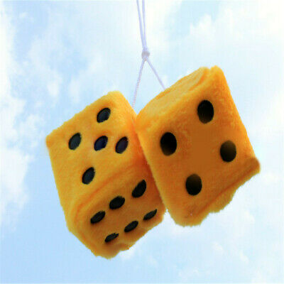 Novelty Fuzzy Fluffy Dice Car Mirror Hanging Accessory Gift Home Decor Yellow