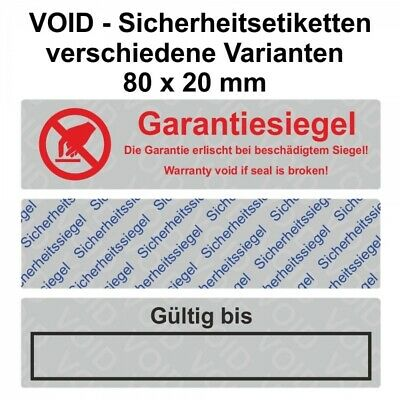 Void Seal Security Labels/Sticker on Roll - 80 x 20 mm - Silver