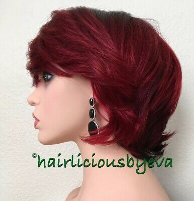 Red Wine Short Wig Wavy Ombré Black Burgundy Heat Resistance Ok Synthetic