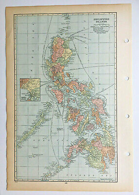 Map Of The Philippine Islands Philippines C1939 Antique Large