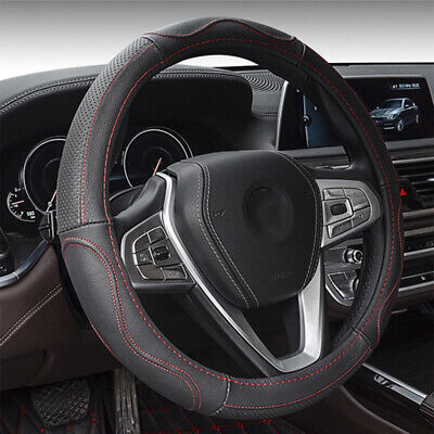15''/38cm Auto Car Steering Wheel Cover Genuine Leather for All Season Black+Red