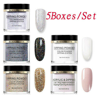 5 Boxes/Set BORN PRETTY Dipping Powder Nail Dip Liquid Nail Art Starter Kit DIY