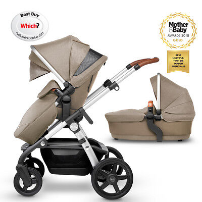 Silver Cross Linen Wave Pram Pushchair Single/Double Tandem Twins Used Vgc