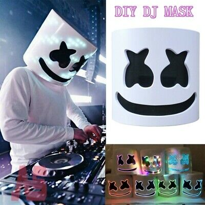 LED MarshMello-DJ Mask Full Head-Helmet Cosplay Marshmallow-Bar Party Music Prop
