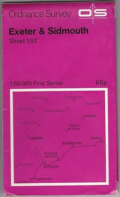 Ordnance Survey Map Sheet 192 Exeter & Sidmouth 1974 First Series OS