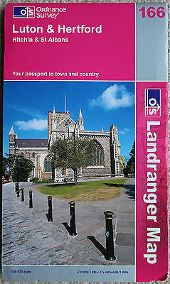 Ordnance Survey Landranger Map 166 Luton & Hertford Hitchin & St Albans 2002 OS