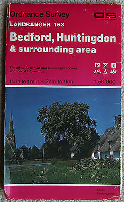 Ordnance Survey Landranger Map 153 Bedford & Huntingdon Biggleswade 1986 OS
