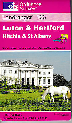 Ordnance Survey New Landranger Map 166 Luton & Hertford Hitchin St Albans OS