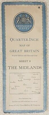 1946 Ordnance Survey Cloth Quarter-Inch Map 4th edition Sheet 8 The Midlands