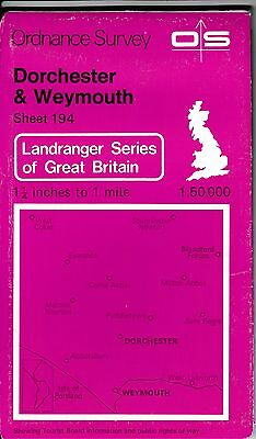 Ordnance Survey Landranger Map Sheet 194 Dorchester & Weymouth 1982 OS