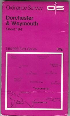 Ordnance Survey Map Sheet 194 Dorchester & Weymouth 1974 First Series OS