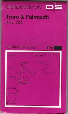 Ordnance Survey Map Sheet 204 Truro & Falmouth 1974 First Series OS