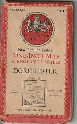 1945 Old Ordnance Survey Map Dorchester Weymouth One Inch 6th Series 178 Cloth