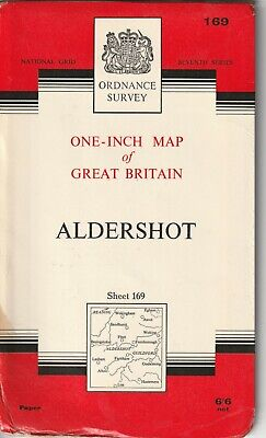 Ordnance Survey One Inch Map 169 Aldershot Guildford Seventh Series 1965 OS UK