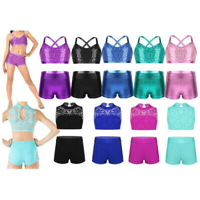 Girls Shiny Jazz Dance Outfits Kids Lace Two Piece Sport Gymnastics Costume Set