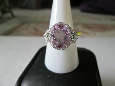 Rose De France Amethyst Platinum over Sterling Silver Ring TGW 4.61 cts.