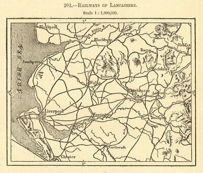 Railways of Lancashire. Sketch map 1886 old antique vintage plan chart