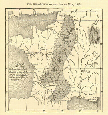 Storms on the 9th of May 1865. France. Hail. Sketch map 1886 old antique