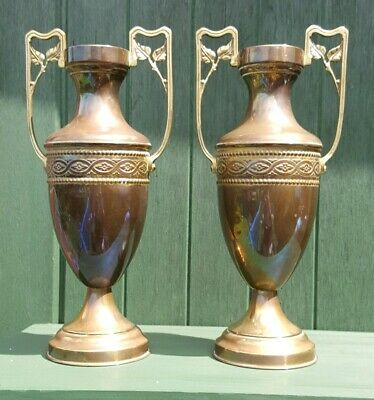 Attractive Vintage Art Nouveau Era Pair Patina Brass Vases Signed A Finer?